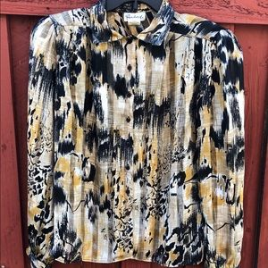 Vintage 1960's abstract blouse size 10